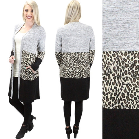 Leopard Block Cardigan with pockets
