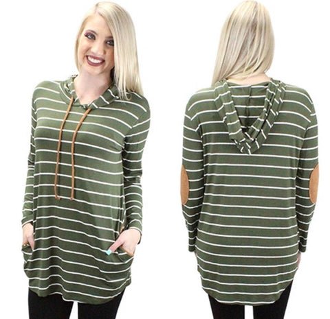 Striped Hoodie with Elbow Patches and Pockets - Olive