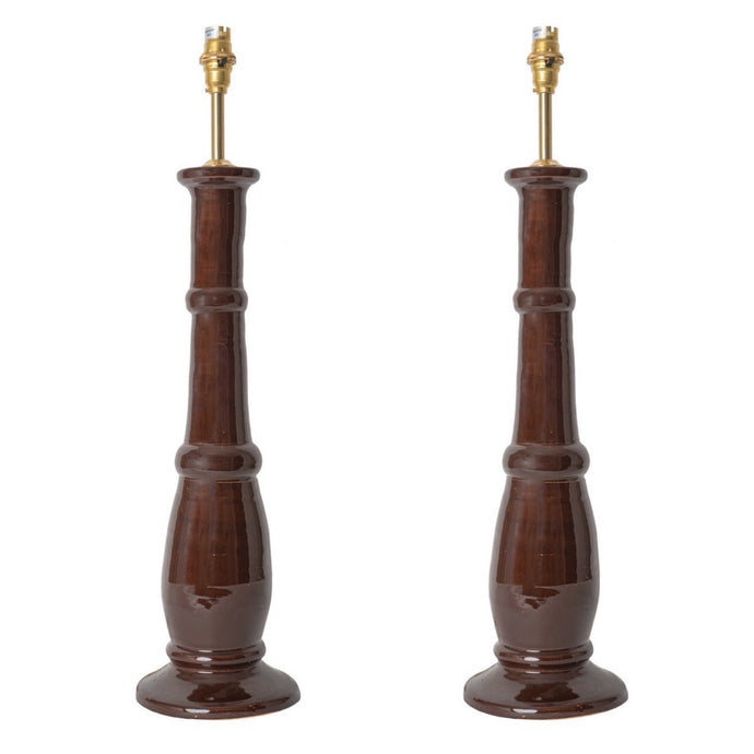 Chocolate Candlestick Ceramic Lamp Base by Penny Morrison