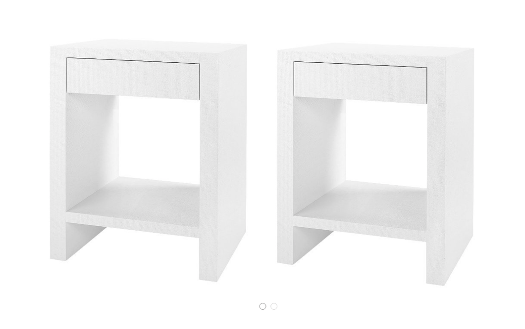 A Pair of  Lacquered Grasscloth Side Tables