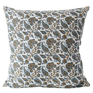 "Chintz Tobacco Linen Cushion 22"" x 22"""