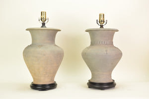 A Near Pair of Chinese Earthenware Vases, Now Mounted as Lamps