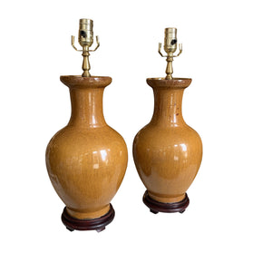 A Pair of Mustard-Glazed Chinese Vases, Now Mounted as Lamps.
