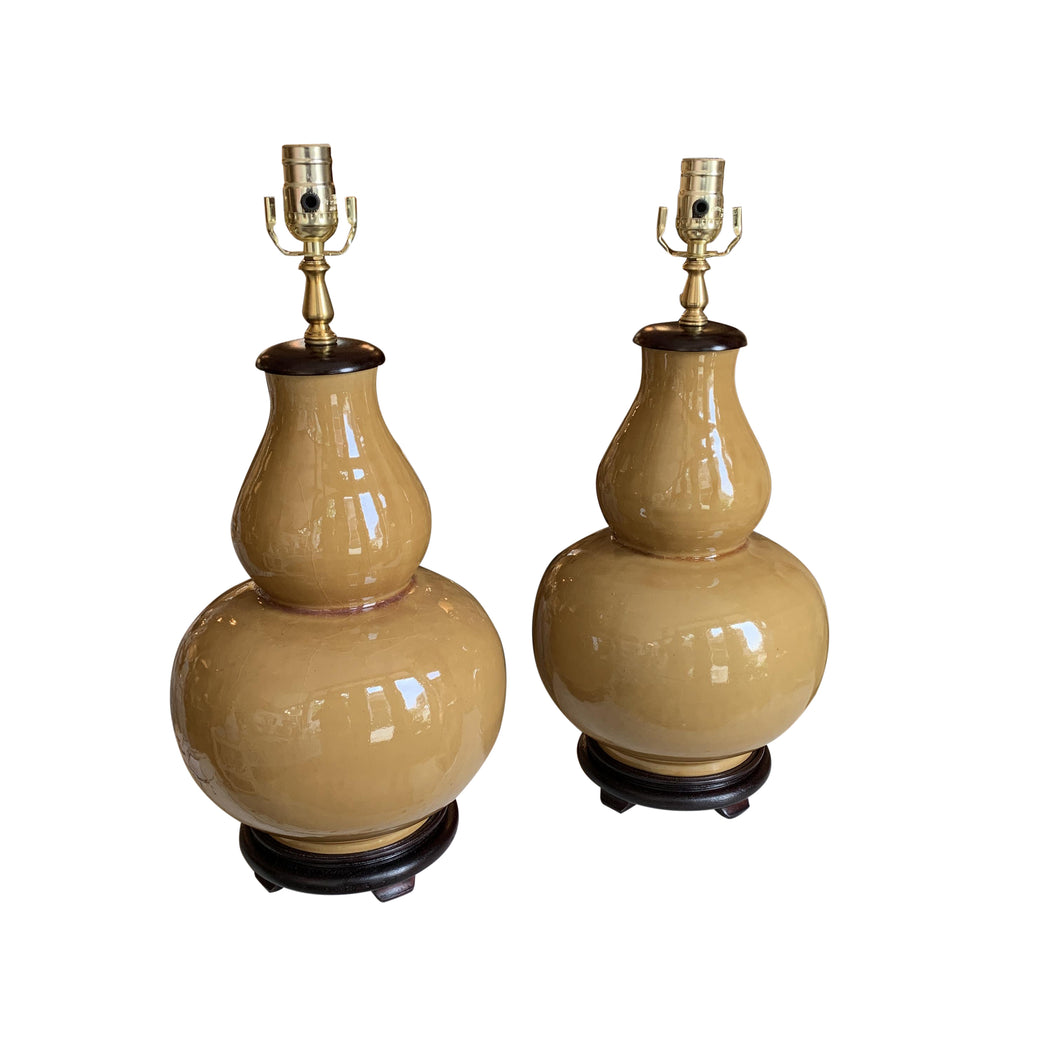 A Pair of Butterscotch-Glazed Double Gourd Vases, Now Mounted as Lamps.