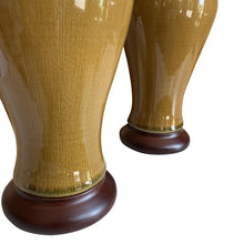 A Pair of Small Butterscotch-Glazed Vases, Now Mounted as Lamps.