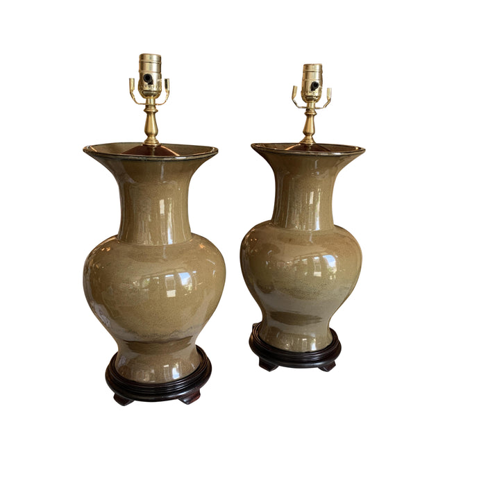 A Pair of Flambe-Glazed Porcelain Vases, Now Mounted as Lamps.