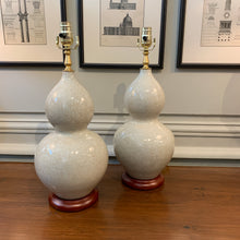 A Pair of Light Grey, Crackle-Glazed Double Gourd Vases, Now Mounted as Lamps.