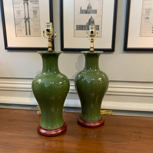 A Pair of Green-Glazed Chinese Fish Tail Vases, Now Mounted as Lamps.