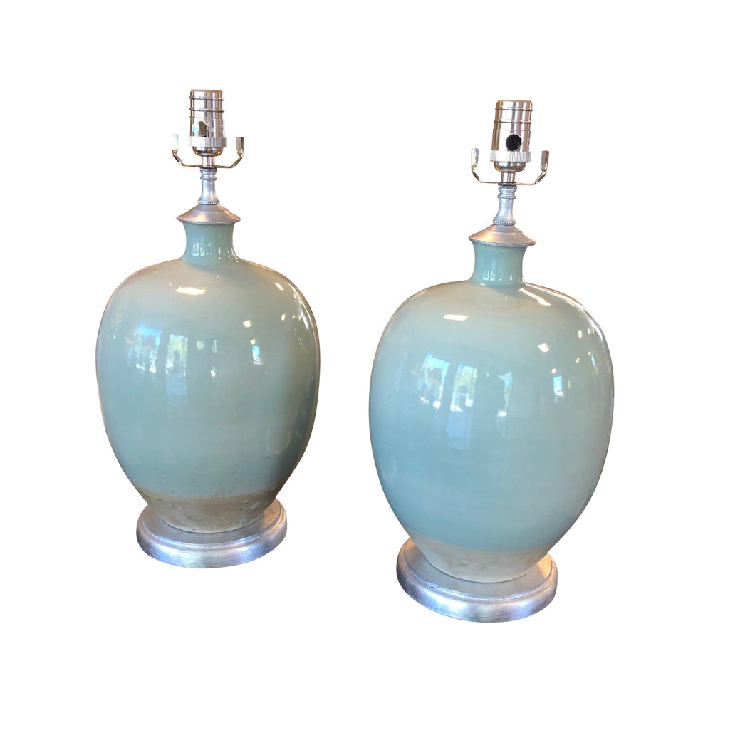 A Pair of Celadon Glazed Vases, Now Mounted as Lamps on Silver Base