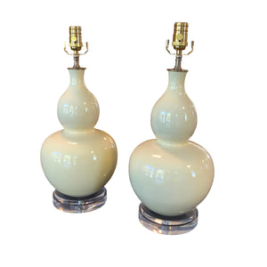 A Pair of Cream -Glazed Double Gourd Vases, Now Mounted as Lamps on Acrylic Base