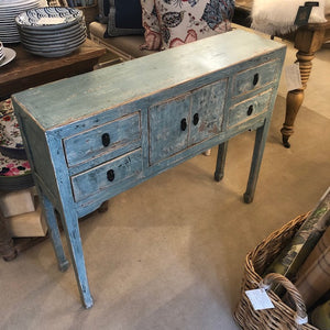 Four Drawer Console with Center Cupboard