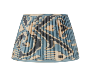 Light Blue & Dark Blue Silk Ikat Lampshade by Rosanna Lonsdale