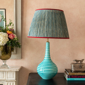 Aqua Spiral Teardrop Ceramic Lamp Base by Penny Morrison
