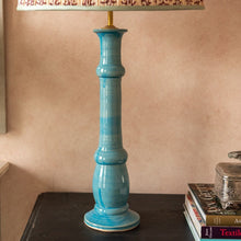 Blue Candlestick Ceramic Lamp Base by Penny Morrison
