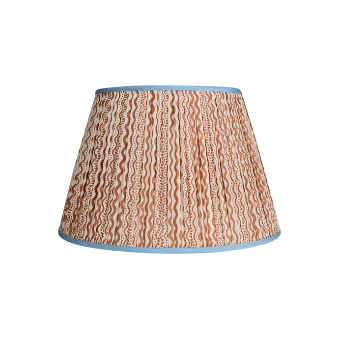 Penny Morrison Lampshade - Brown & White Squiggle with Blue Trim 6