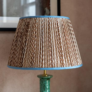 "Penny Morrison Lampshade - Brown & White Squiggle with Blue Trim 6"" Top x 12"" Bottom x 8"" Slant"