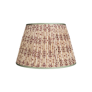 "Penny Morrison Lampshade - Cream & Plum with Mint Trim 13"" Top x 20"" Bottom x 13"" Slant"