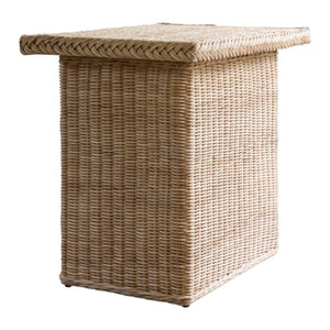 A Pair of Rectangular, Woven Rattan Side Tables in Natural Finish