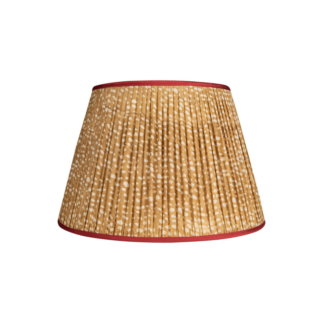 Penny Morrison Lampshade - Brown  & White Spots with Red Trim 11.5
