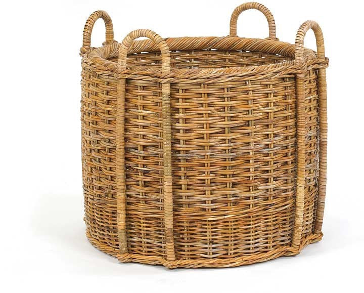 Woven Rattan Basket - Round with Four Handles