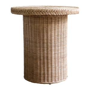 A Pair of Round, Woven Rattan Side Tables in Natural Finish