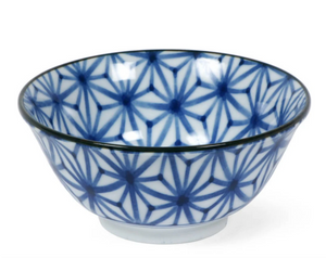 "6"" Blue & White Bowls with Stars, Set of Four"
