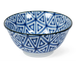 "6"" Blue & White Bowls with Triangles, Set of Four"