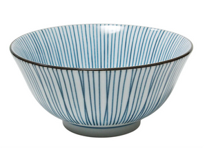 "6"" Blue & White Bowls with Lines, Set of Four"
