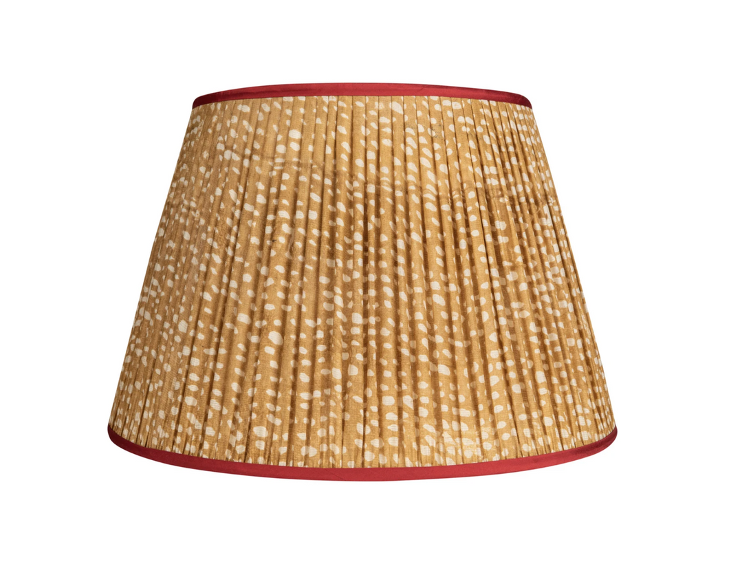 Penny Morrison Lampshade - Brown & White Spots with Red Trim 6