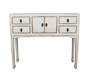 Console Table with Four Drawers and Center Cupboard