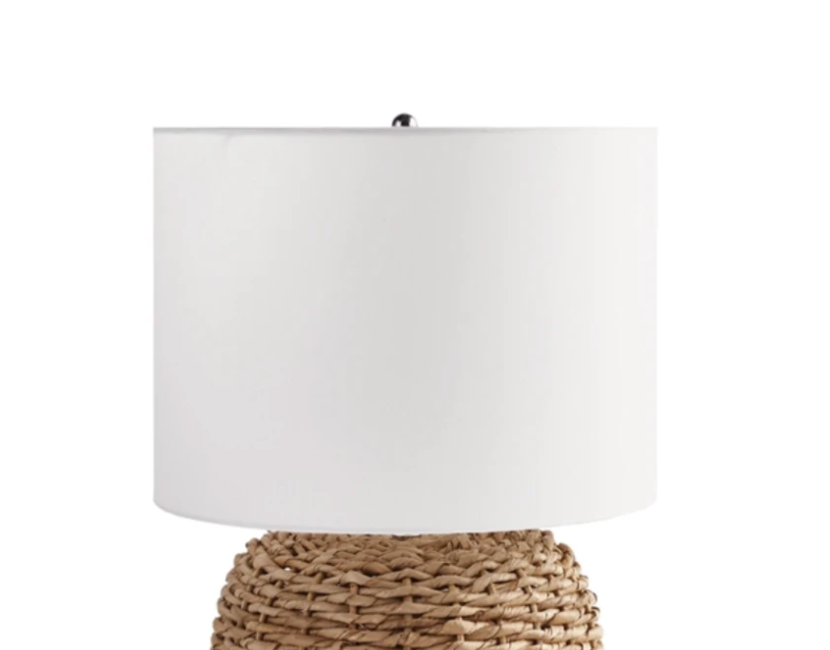 White Linen Drum Lampshade for Woven Rattan Short Table Lamp