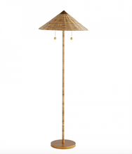 Rattan Wrapped Standing Lamp on a Gold Painted Base