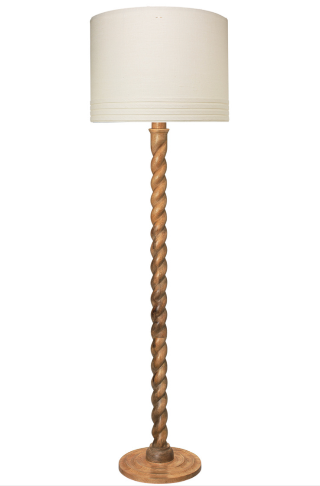 A Barley Twist Floor Lamp in Natural Wood Finish