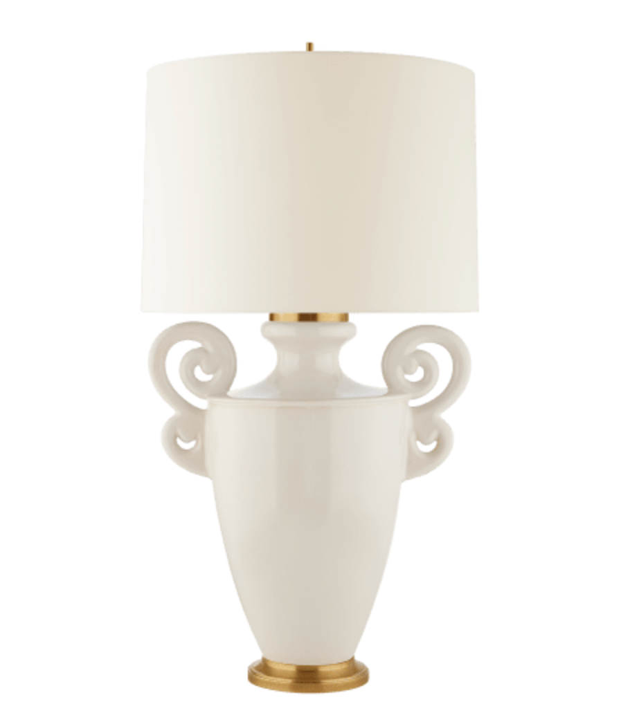 Cream-Glazed Ceramic Lamps with Handles
