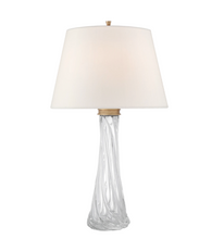 Hand-Blown Colorless Glass Table Lamp Mounted with Brass Hardware
