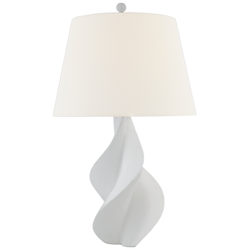 Spiraled Table Lamp in White Plaster Finish