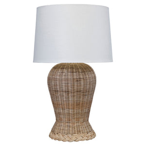 Woven Rattan Wide Vase Table Lamp