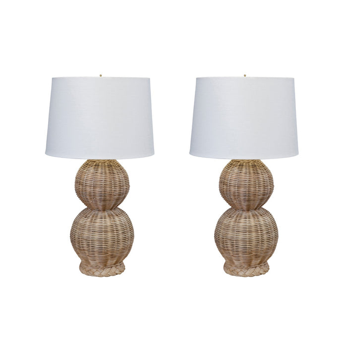 Woven Rattan Double Gourd Table Lamp