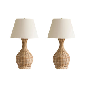 Woven Rattan Narrow-Neck Table Lamp