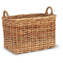 Woven Rattan Basket - Rectangle with Handles