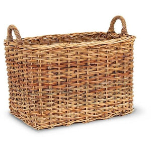 Woven Rattan Basket - Rectangular with Two Handles