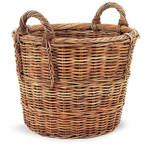 Woven Rattan Basket - Round with Two Handles