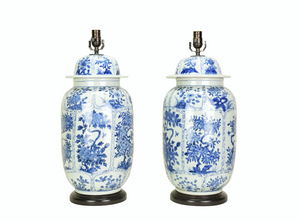 A Pair of Hand-Painted Blue and White Chinese Jars & Covers, Now Mounted as Lamps