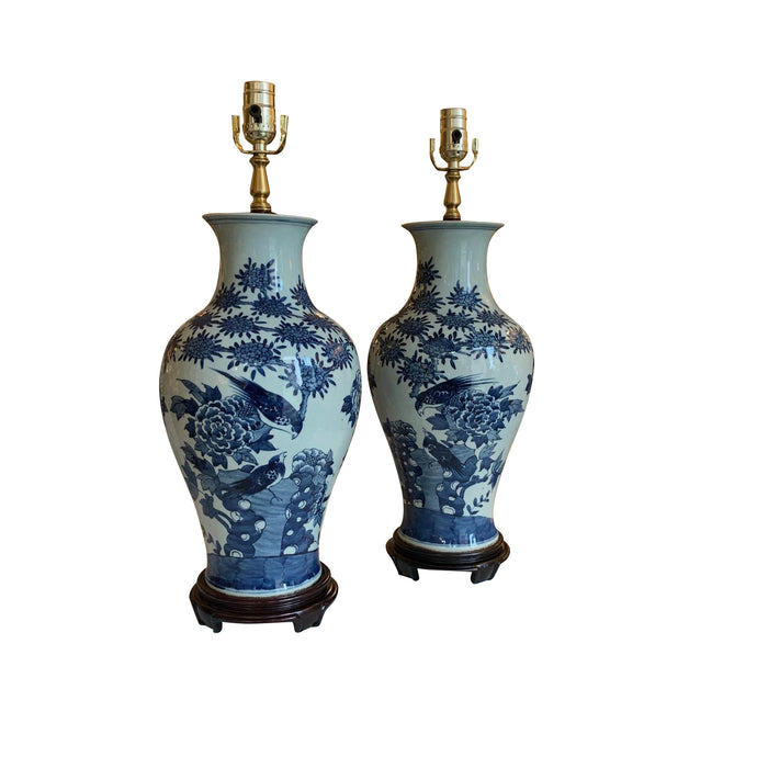 A Pair of Blue & White Glazed Vases, Now Mounted as Lamps.