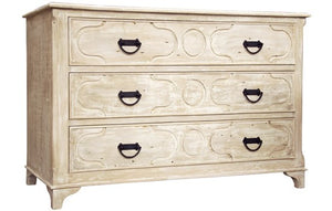 Hand-Carved Chest of Drawers in a Limed Wood Finish