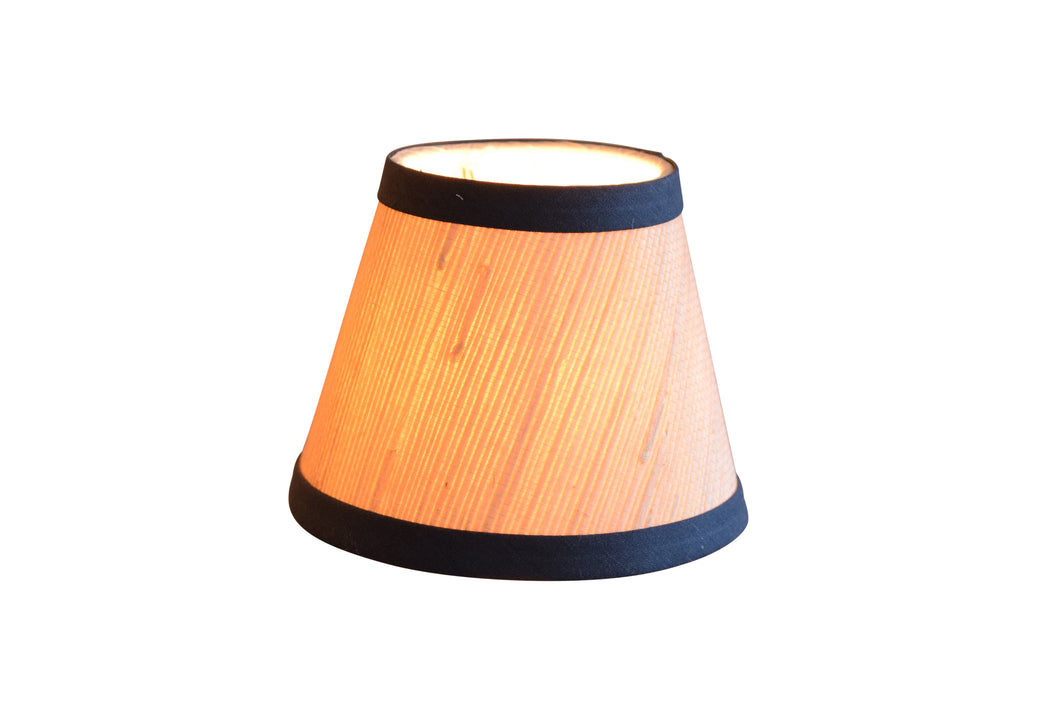 Natural Grasscloth Chandelier Lampshades with Navy Trim