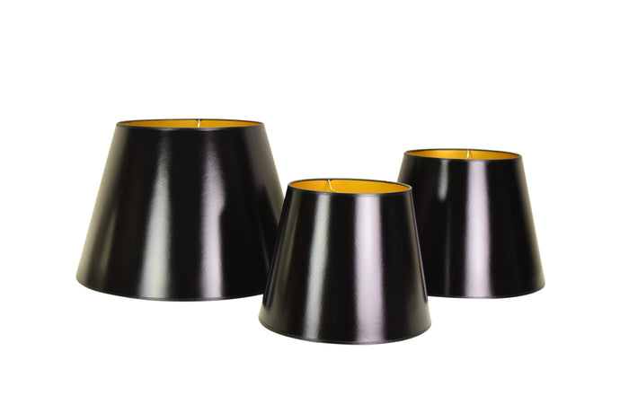 Black Lacquer Lampshades with Gold Lining