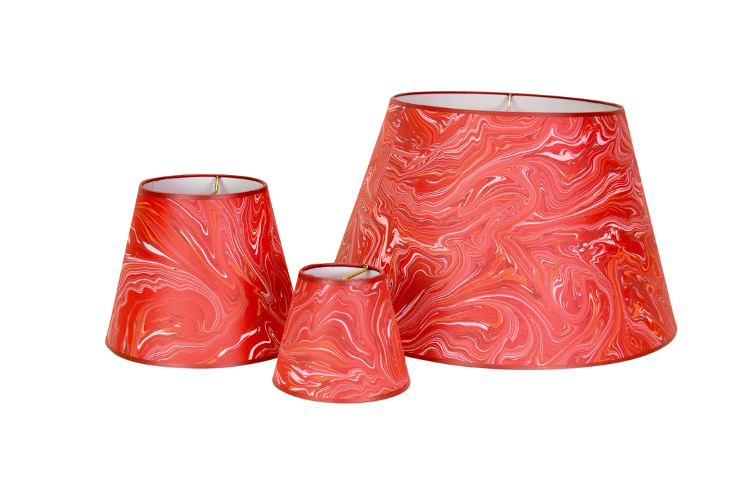 Hand-Marbelized Paper Lampshades - Red Malachite