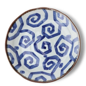 Blue & White Glazed Geometric Dinner Plates, Set of Four