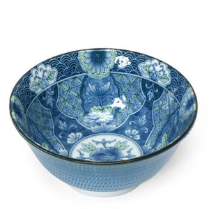"6"" Green & Blue Bowls with Floral Motif, Set of Four"